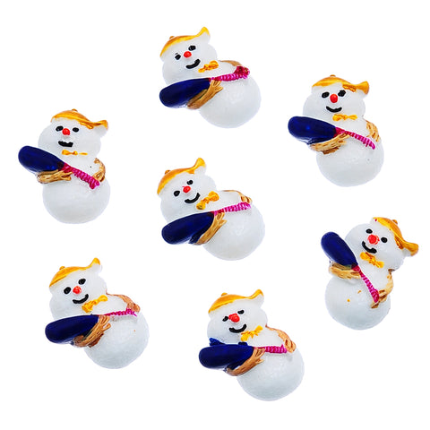 Sexy Sparkles 5 Pcs Christmas Holidays Resin Embellishment Findings (27.5mm x 20mm Snowman)