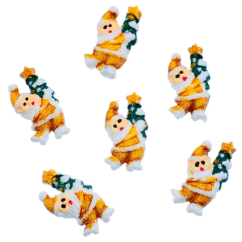 Sexy Sparkles 5 Pcs Christmas Holidays Resin Embellishment Findings (23mm x 12mm Santa Claus)