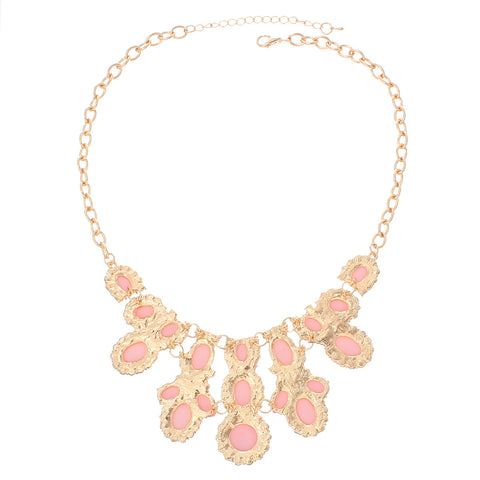 Fashion Jewelry Necklace Gold Tone with Clear Rhinestone and Acrylic Stones with Lobster Clasp