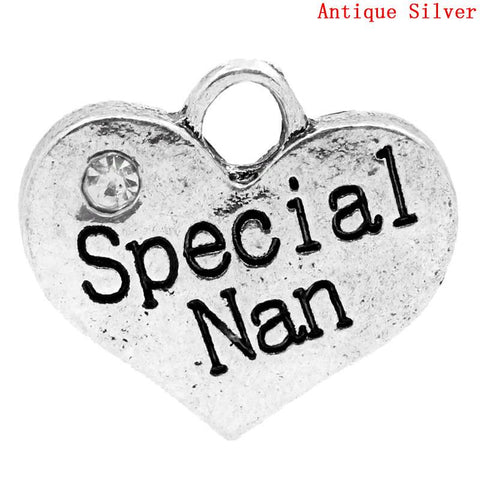 Special Nan Clip On Family Hearts Charm Bead for Snake Chain Bracelet - Sexy Sparkles Fashion Jewelry - 2