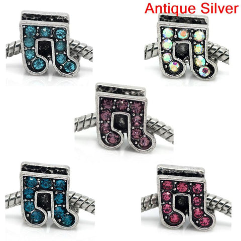 Rhinestone Music Note Charm Bead Spacer for Snake Charm Bracelets (Light Blue) - Sexy Sparkles Fashion Jewelry - 2
