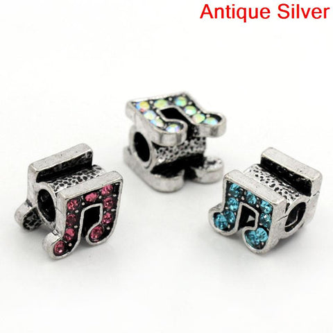 Rhinestone Music Note Charm Bead Spacer for Snake Charm Bracelets (Light Blue) - Sexy Sparkles Fashion Jewelry - 3