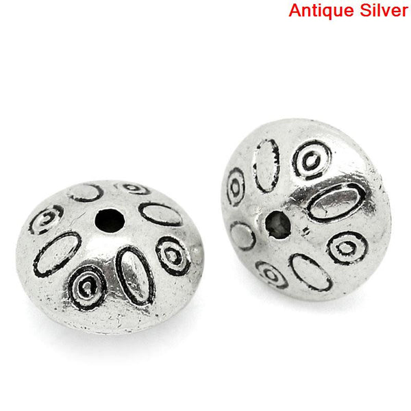 Sexy Sparkles 10 Pcs Silver Toned Carved Charm Spacer Bead 9mm Dia, Hole: Approx 1mm