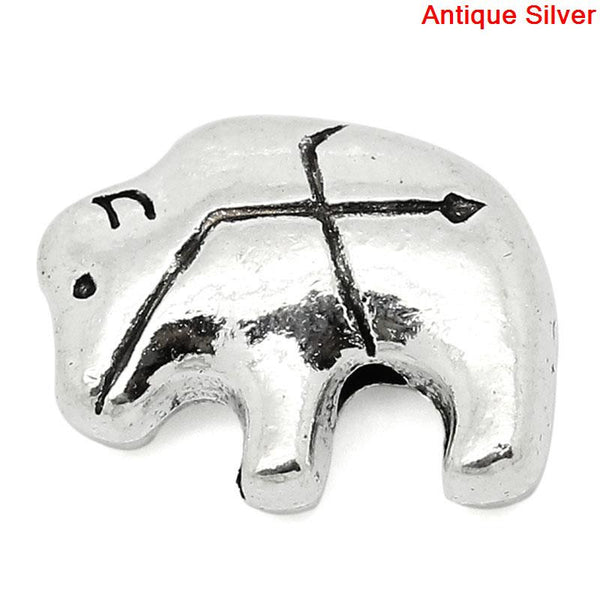 Sexy Sparkles 10 Pcs Silver Toned Polar Bear Carved Spacer Bead 14x11mm, Hole: Approx 1.6mm