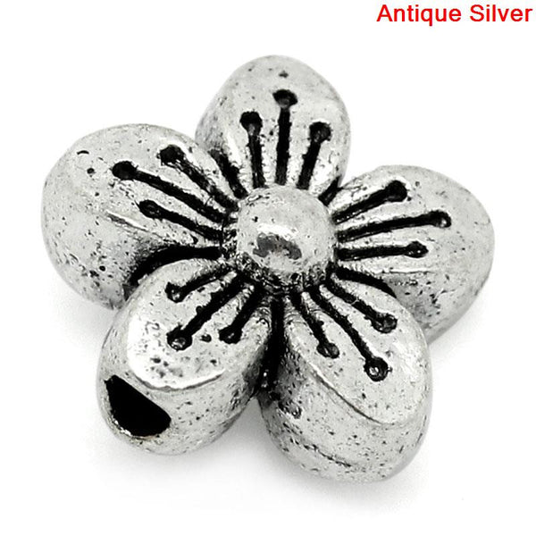 Sexy Sparkles 10 Pcs Silver Flower Spacer Bead 11x11mm, Hole: Approx 1.8mm
