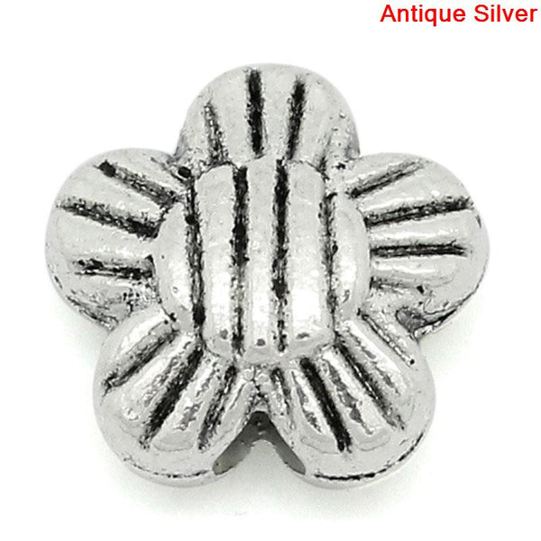 Sexy Sparkles  10 Pcs Flower Charm Beads Antique Silver Stripe Pattern Carved 8mm