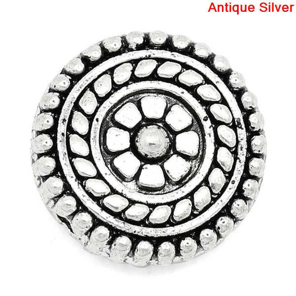 Sexy Sparkles 5 Pcs Round Spacer Beads Antique Silver Flower Medallion Pattern Carved 11.5mm