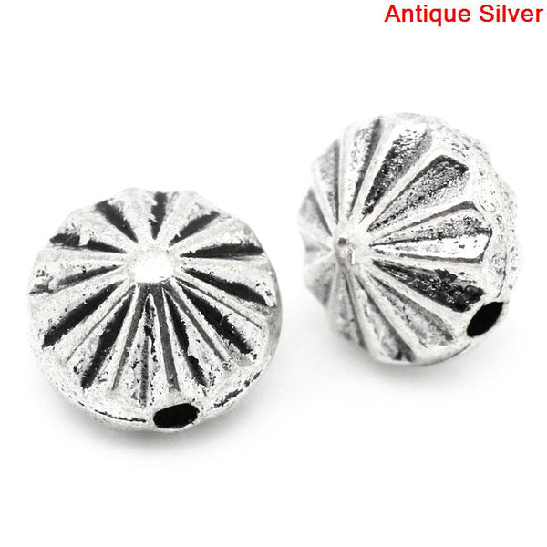 Sexy Sparkles 5 Pcs Round Spacer Beads Antique Silver Stripe Pattern Carved