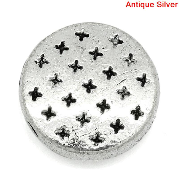 Sexy Sparkles 5 Pcs Round Spacer Beads Antique Silver Cross Pattern Carved