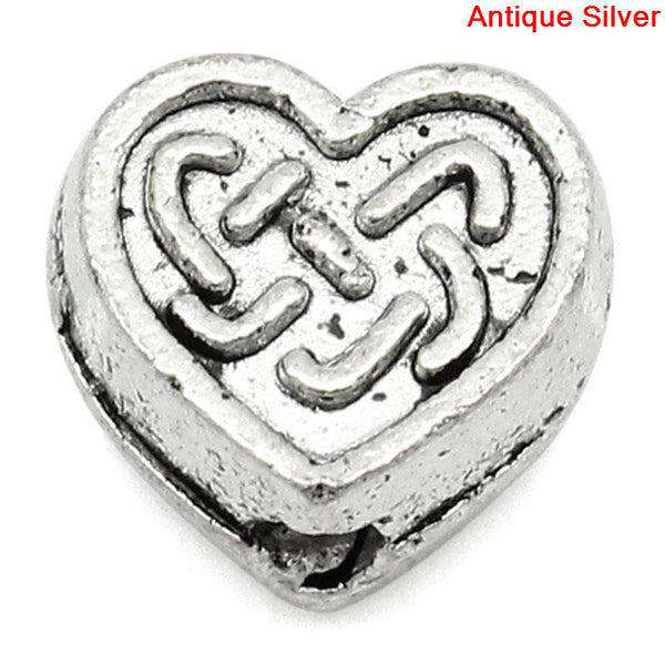 Sexy Sparkles 10 Pcs Heart Charm Beads Antique Silver Celtic Knot Pattern Carved 6mm