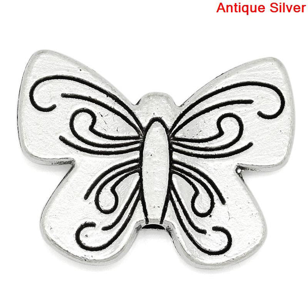 Sexy Sparkles 4 Pcs Charm Beads Butterfly Shape Antique Silver 23mm