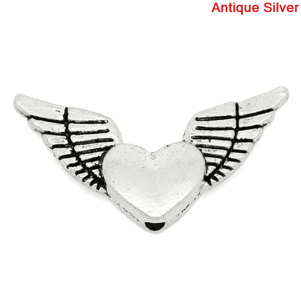 Sexy Sparkles 10 Pcs Charm Beads Antique Silver Angel Wings Heart 25mm