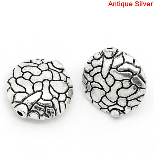 Sexy Sparkles 5 Pcs Round Spacer Beads Antique Silver Pattern Carved 16mm