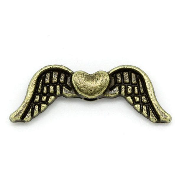 Sexy Sparkles 10 Pcs Charm Beads Antique Bronze Angel Wings Heart 20mm