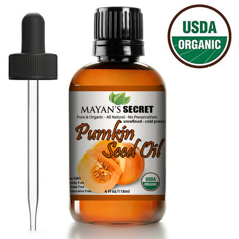 Pumpkin Seed Oil USDA Certified Organic & Natural, Cold Pressed Virgin, Natural Moisturizer for Dry Hair Rough Skin and Nails