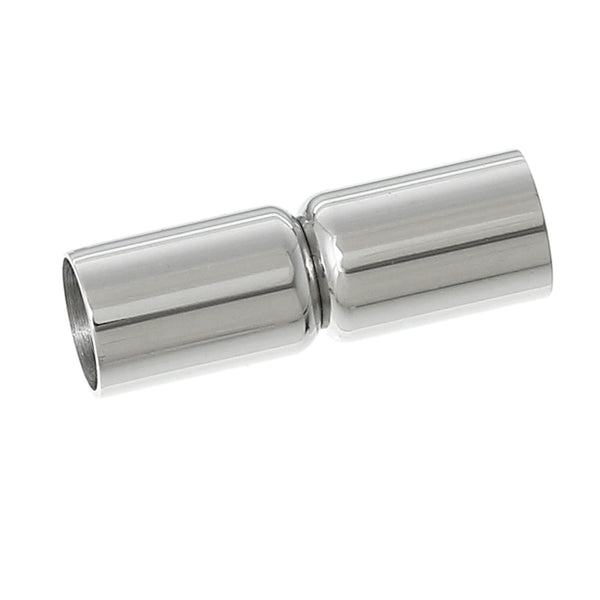 "Sexy Sparkles 1 Pc Stainless Steel Tube Cylinder Magnetic Clasp Silver Tone 6/8"" x 2/8"" Fits 5mm Dia. Cord"