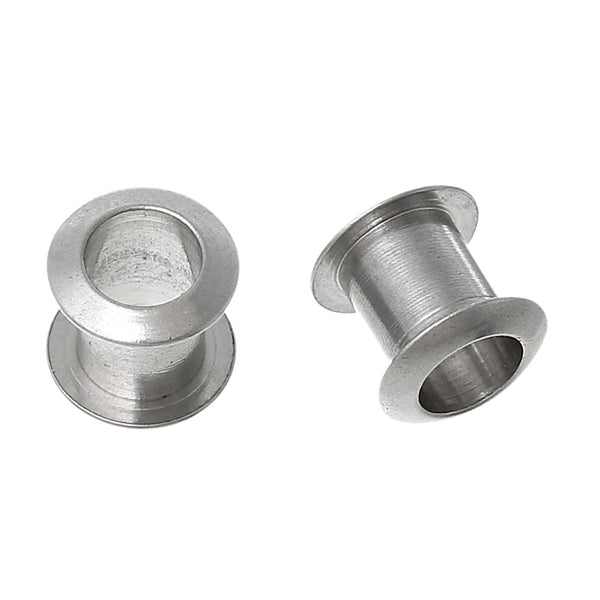 Sexy Sparkles 5 Pcs Stainless Steel Bobbin Spacer Beads Silver Tone 8mm
