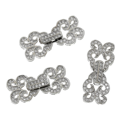 Sexy Sparkles 1 Pc Butterfly Charm Toggle Copper Clasp Silver Imitation with Micro Pave Clear Cubic Zirconia 1""