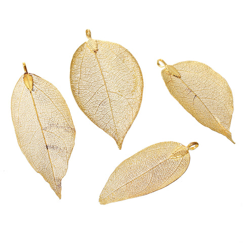 "Sexy Sparkles 1 Pc. Natural Leaf Charm Pendant Gold Plated 3-2/8"" x 1-2/8"""