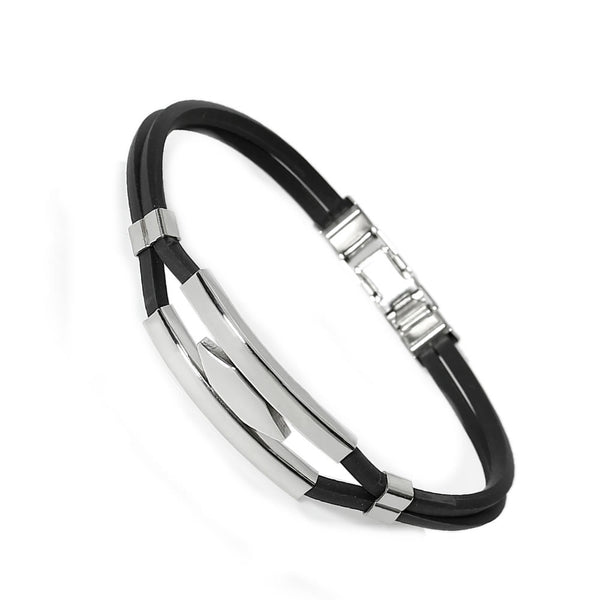 SEXY SPARKLES Men's Stainless Steel Hexagon Black Rubber Bracelet - Sexy Sparkles Fashion Jewelry - 1