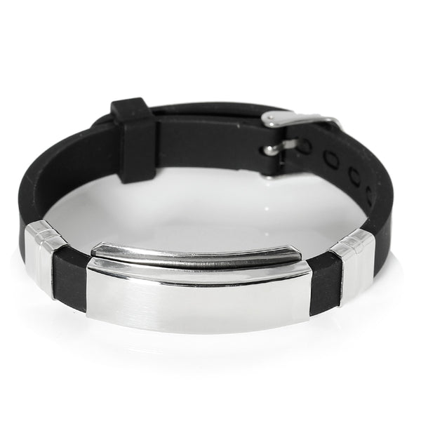 SEXY SPARKLES Men's Stainless Steel Black Silicone Adjustable Buckle Bracelet - Sexy Sparkles Fashion Jewelry - 1