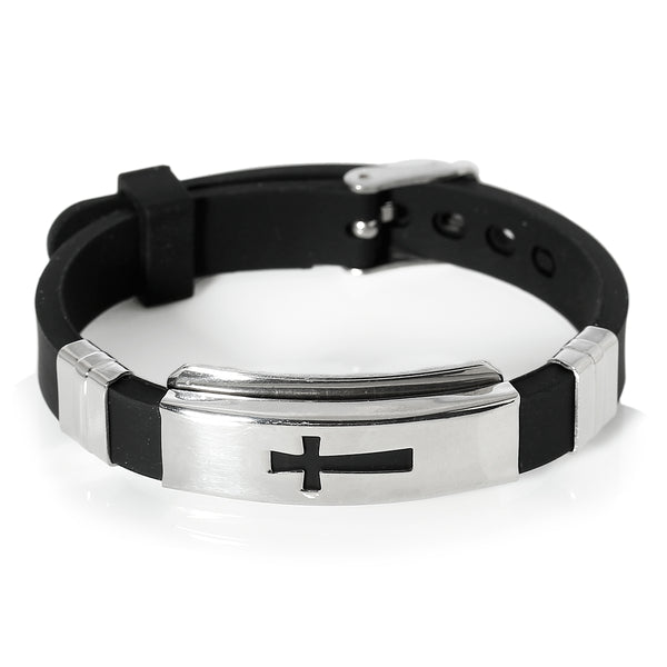 Sexy Sparkles Jewelry Men's Stainless Steel Religious Black Silicone Cross Adjustable Buckle Bracelet