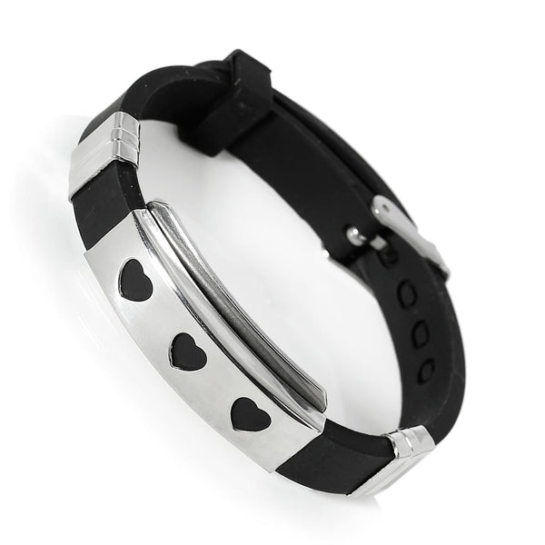 Sexy Sparkles Jewelry Men's Womens Stainless Steel Black Silicone Hearts Adjustable Buckle Bracelet - Sexy Sparkles Fashion Jewelry - 1