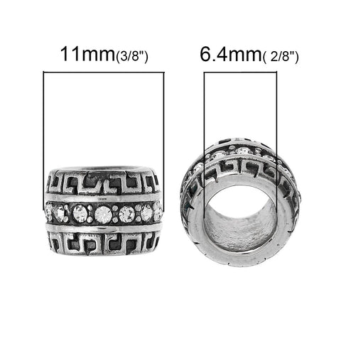 Stainless Steel European Style Large Hole Charm Beads Cylinder Silver Tone