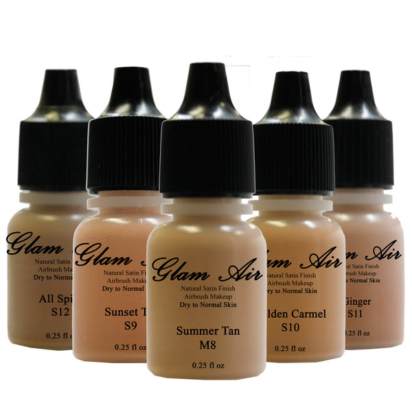 Glam Air Airbrush Water-based Foundation in 5 Assorted Tan Satin Shades of foundation (Ideal for normal to dry Tan/Dark Olive skin)S8-S12 - Sexy Sparkles Fashion Jewelry - 1