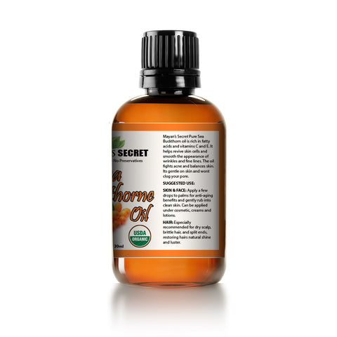 Sea Buckthorn Fruit Oil by Mayan's Secret,USDA Certified Organic, Vegan, Cruelty-Free, Unrefined for Hair, Skin & Nails - Benefits Acne, Eczema & Rosacea