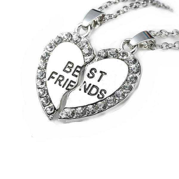 "Link Cable Necklace Cable Chain Broken Heart Message "" BEST FRIENDS "" Pendants Clear Rhinestone Pendant - Sexy Sparkles Fashion Jewelry - 1"