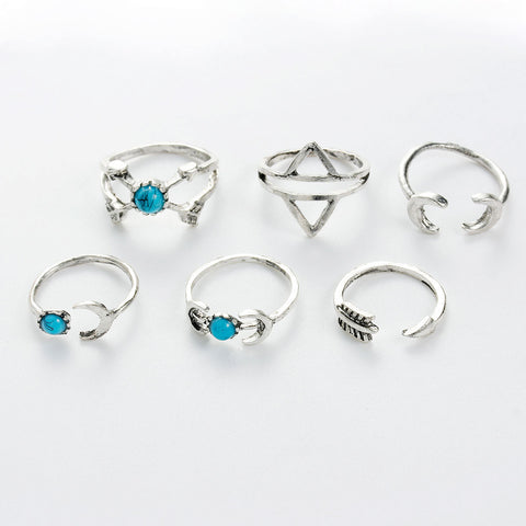 Sexy Sparkles 6PCS Fashion Vintage Turkish Arrow Moon Turquoise Joint Knuckle Nail Midi Ring Set - Sexy Sparkles Fashion Jewelry - 2