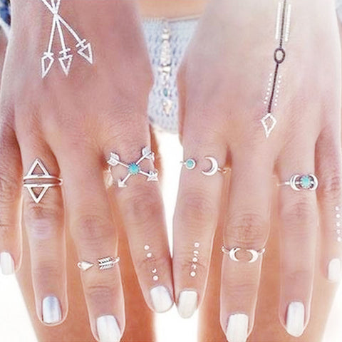 Sexy Sparkles 6PCS Fashion Vintage Turkish Arrow Moon Turquoise Joint Knuckle Nail Midi Ring Set - Sexy Sparkles Fashion Jewelry - 1