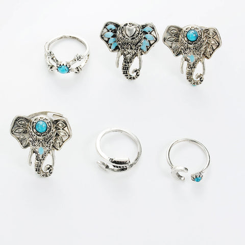 SEXY SPARKLES 6 pcs Nonadjustable Band Knuckle Midi Rings Blue Imitation Turquoise - Sexy Sparkles Fashion Jewelry - 2