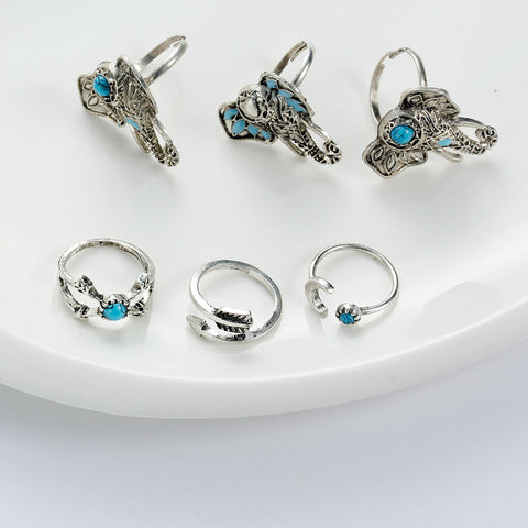 SEXY SPARKLES 6 pcs Nonadjustable Band Knuckle Midi Rings Blue Imitation Turquoise - Sexy Sparkles Fashion Jewelry - 3