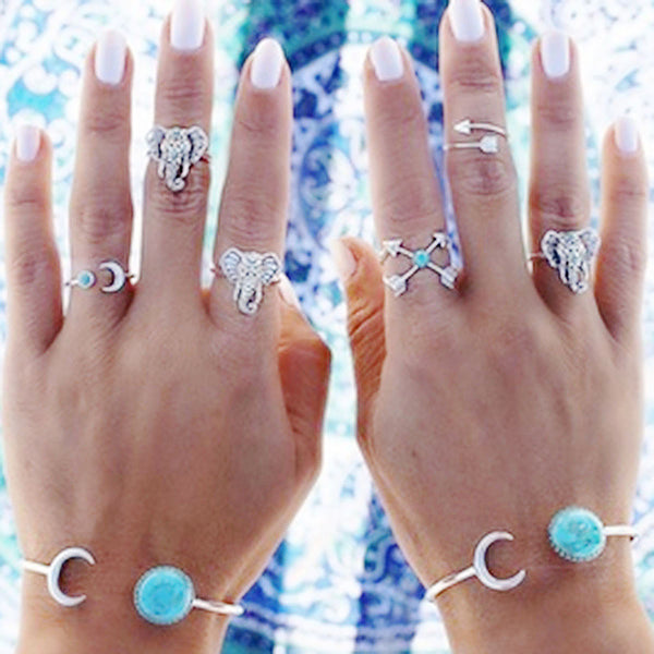 SEXY SPARKLES 6 pcs Nonadjustable Band Knuckle Midi Rings Blue Imitation Turquoise - Sexy Sparkles Fashion Jewelry - 1