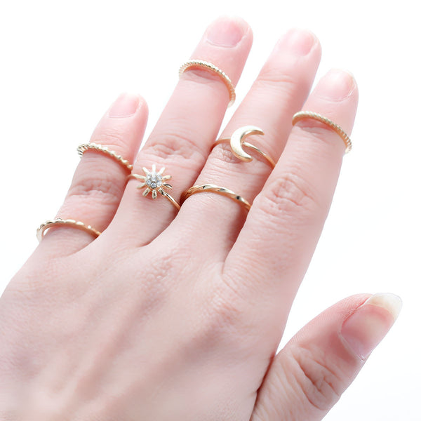 Sexy Sparkles 7PCS Vintage Moon Flower Joint Knuckle Nail Midi Ring Set - Sexy Sparkles Fashion Jewelry - 1