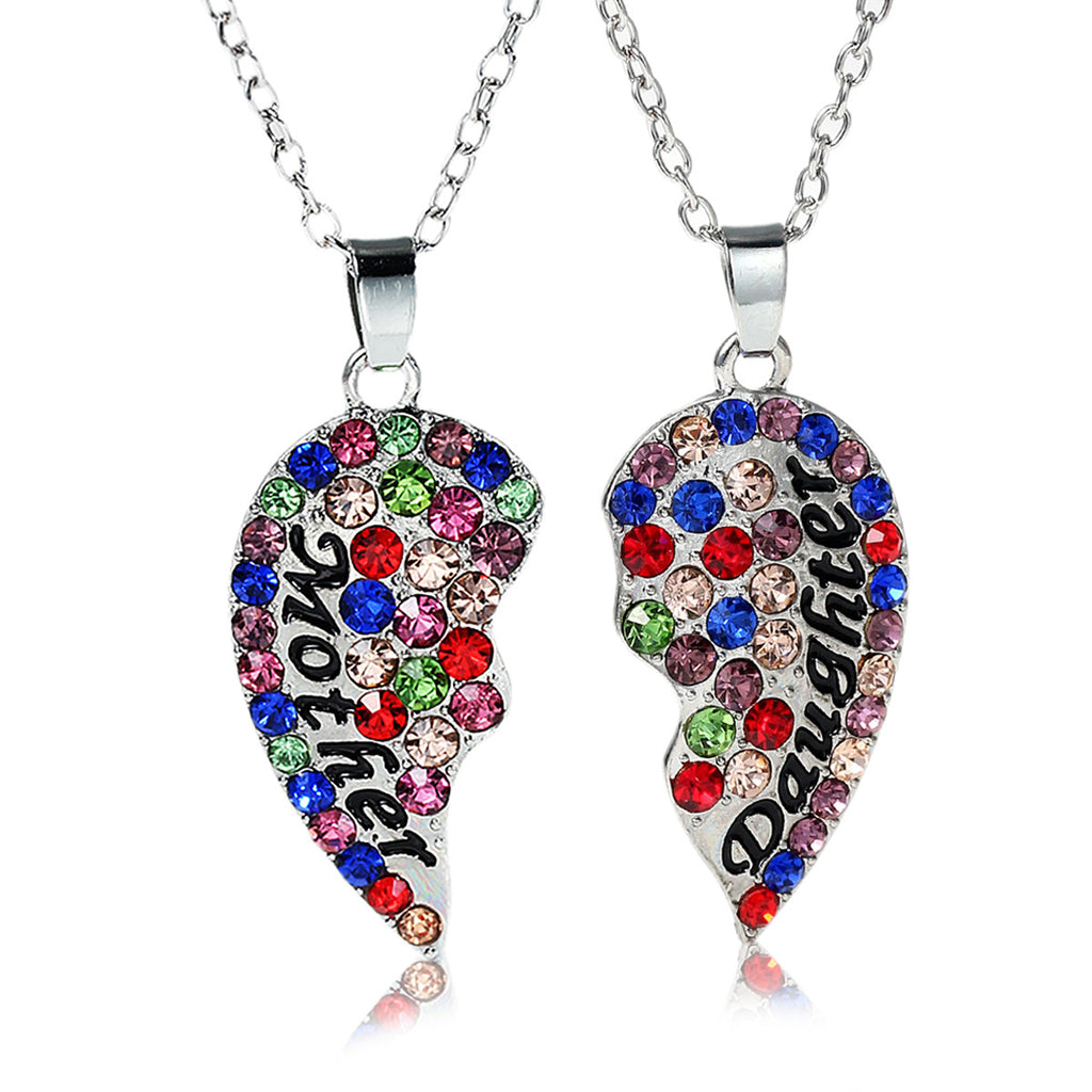 Necklace long link cable chain broken heart message mother daughte necklace long link cable chain broken heart message mother daughter pendants multi color aloadofball Images