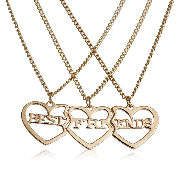 "(3 PCs/Set) Gold Tone Broken Heart Friendship BFF Pendant "" BEST FRIENDS ""20 5/8"" long - Sexy Sparkles Fashion Jewelry"