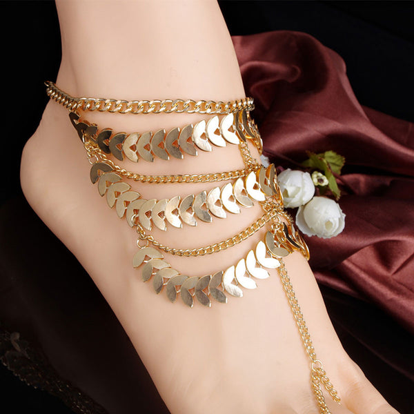 SEXY SPARKLES New Fashion Women Multi layer Chain Beach Sexy Sandal Anklet Ankle Bracelet Link Curb Chain Bracelet Gold Plated - Sexy Sparkles Fashion Jewelry - 1