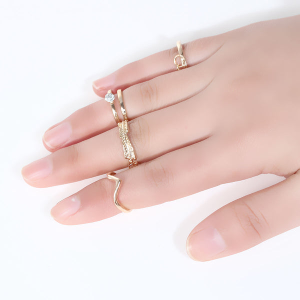 Sexy Sparkles Nonadjustable Women's Band Knuckle Midi Rings Gold Tone Leaf Pattern Clear Rhinestone - Sexy Sparkles Fashion Jewelry - 1