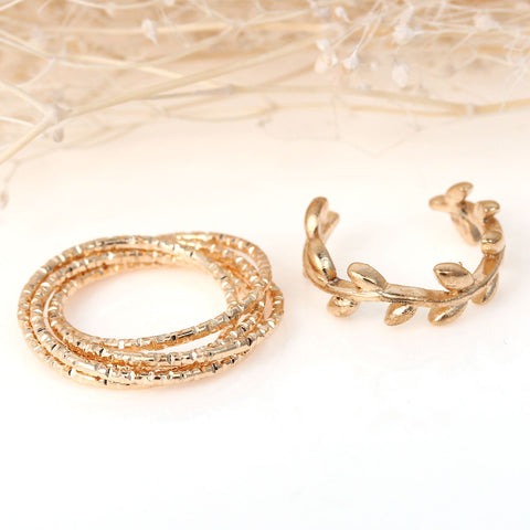 Sexy Sparkles 1set (2pc) Open Band Knuckle Midi Rings Leaf Pattern Midi Ring Set - Sexy Sparkles Fashion Jewelry - 2