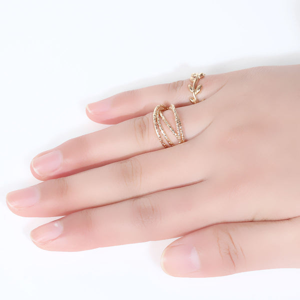 Sexy Sparkles 1set (2pc) Open Band Knuckle Midi Rings Leaf Pattern Midi Ring Set - Sexy Sparkles Fashion Jewelry - 1