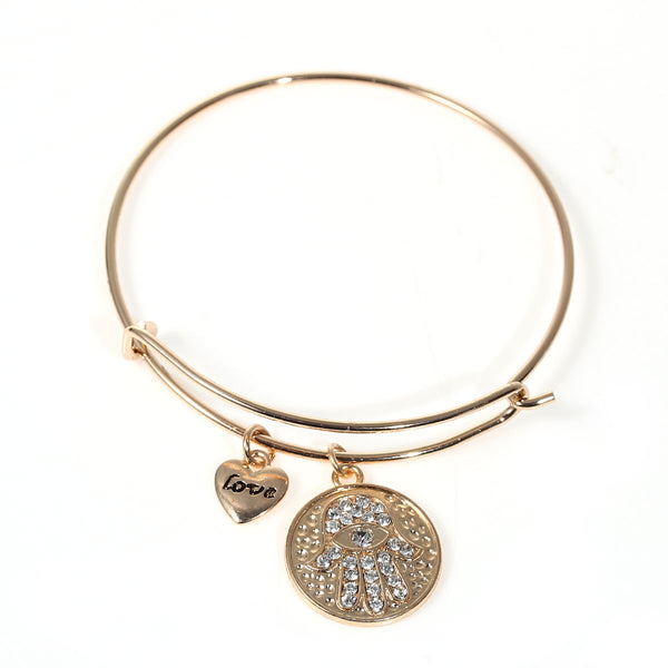 SEXY SPARKLES Hamsa Hand Expandable Charm Bangle Gold Tone with Round Heart Pendants