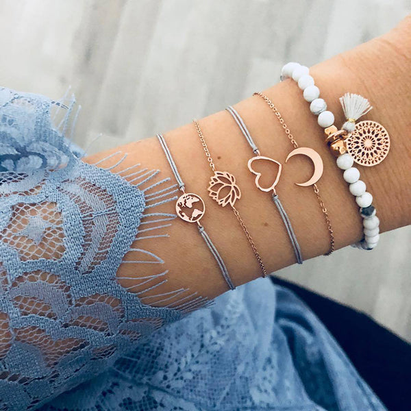 SEXY SPARKLES Stackable Bracelets Multilayer Boho Bracelet Sets Beads Metal Chain Rope Adjustabl Bracelets for Women Elastic Rope Charm Bangle Bracelet Best Women Teen Girls Gift