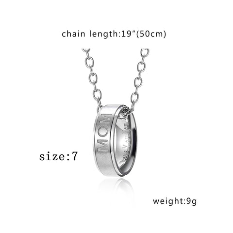 SEXY SPARKLES Mom Dad Ring Necklace Love You Dad Mom Titanium Steel Necklace