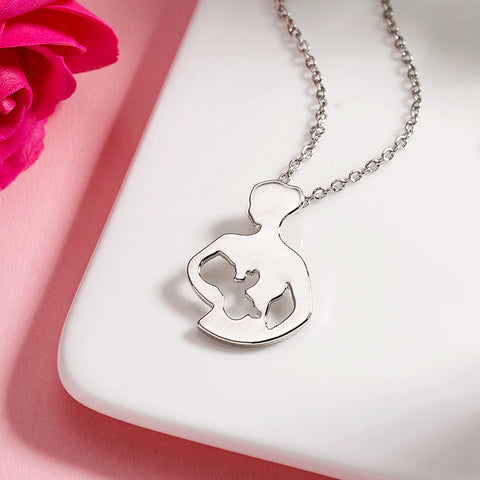 SEXY SPARKLES Mother Daughter Pendant Necklace Love Heart Necklace for Women Gift for Mom