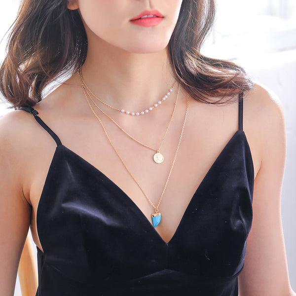 SEXY SPARKLES Multilayer Layered Layer Long Necklaces Chain for Womens Jewelry