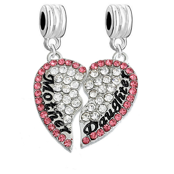1 Pair Mother Daughter Hearts Love Charm With Fuchia Rhinestones Fits Snake Chains Brand Charm Bracelets - Sexy Sparkles Fashion Jewelry