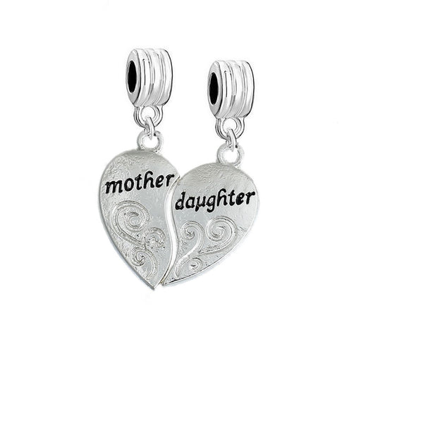 1 Pair Mother Daughter Hearts Love Dangle Charm Fits Snake Chains Brand Charm Bracelets - Sexy Sparkles Fashion Jewelry